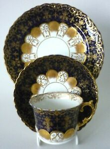 Antique C1905 Aynsley Cobalt Blue & White Heavily Gilded Trio Pattern No.12145