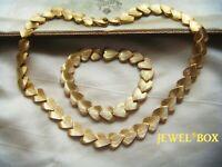 SIGNED DBGM Vintage Jewelllery Gorgeous Golden Heart Panel NECKLACE BRACELET SET