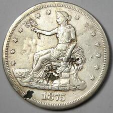 1875-CC Trade Silver Dollar T$1 - VF Details with Chop Marks - Rare Coin!