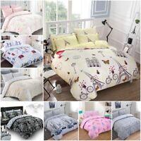 Print Duvet Cover Set 100%Cotton Rich Double Super King Bedding Set Pillowcases