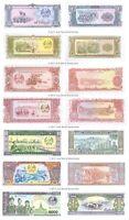 Laos 1 + 10 + 20 + 50 + 100 + 500 + 1,000 Kip Set of 7 Banknotes 7 PCS UNC