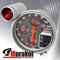 "Jdm Sport 5"" 4 IN1 11K RPM Tachometer Water Temp+Oil Pressure Gauge Carbon Fiber"