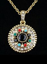 Multi Coloured Nine Stone High Quality Gold Plated  Round Pendant Necklace