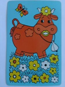 VINTAGE ,  SINGLE ,   COW  ; SWAP PLAYING  CARD.
