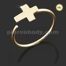 22G 8mm Dia 14K Gold Cross Crucifix Nose Hoop Ring Ear Tragus Body Jewelry FS