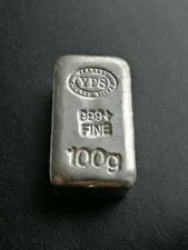 100g YPS Yeagers Poured Silver Bar 999 solid pure bullion #0272