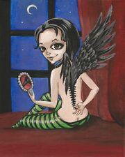 PRINT OF PAINTING RYTA BIG EYE GOTHIC CROW NUDE FAIRY ANGEL MORBID HALLOWEEN