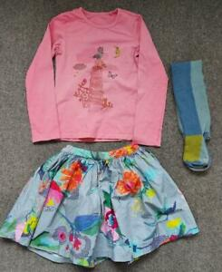 OILILY DESIGNER GIRLS LONG SLEEVE TOP AND SKIRT WITH TIGHTS,  7-8 YRS, 128CM