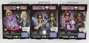 Lot 3 MEGA BLOKS Monster High CLAWDEEN WOLF LAGOONA CLEO MATTEL, Free Shipping