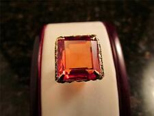 Vintage 14k Solid Gold Rare Color Orange Synthetic 21 Carat Sapphire Ring