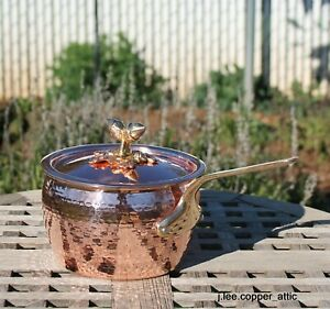 Ruffoni Hammered Copper 2-1/2 Qt Sauce Pan, Acorn finial, Made in Italy