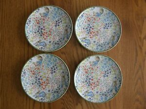 Set 4:Peter Rabbit Floral Stoneware Appetizer Plates -Easter, Kids birthday -New