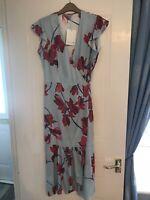 Jigsaw Womens Stripe Cyclamen Wrap Dress £199 Now £75 92% Silk