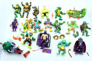 Vintage Teenage Mutant Ninja Turtles Figure and Parts Lot Damaged TMNT