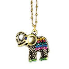 ANNE KOPLIK COLORFUL LUCKY ELEPHANT SWAROVSKI CRYSTAL NECKLACE