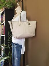 Coach White Pebbled Leather Satchel Purse Tote Handbag With Silver Accents