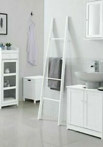 The Malmo Alaska Bathroom Towel Ladder Rail, Wood White H163 cm