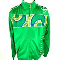 "Coogi Men's Vintage Full Zip Jacket  3XL  90""s Multicolor Green Embroidered EUC"