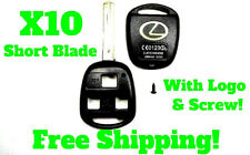 Lexus Remote Shells x10 GOLD LOGO 3 Button Short Blade Uncut Key Fob Shell New