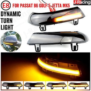 2 Black Smoke Dynamic LED Wing Mirror Turn Signal Light Fit VW Golf 5 GTI MK5