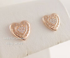 SIGNATURE HEART Authentic PANDORA Rose GOLD Plated LOGO Earring Studs 287382CZ