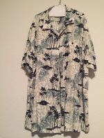 Caribbean Pineapple Mens Ivory Blue Silk Blend Hawaiian Camp Shirt 3XL