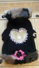 Designer Pequeño/Mediano/Negro Ropa De Perros Polar Marrón/Beige/Gris con Capucha Abrigo.