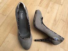FIORE Ladies Grey Faux Suede Pointed Toe Courts Croc Trim UK 7 EUR 41