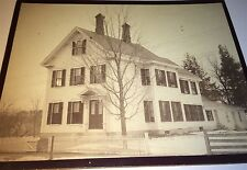 Large Antique Victorian American White House, Picket Fence! Old NH Cabinet Photo