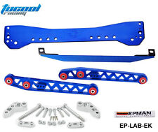 Subrame Bar+Lower Tie Bar+Rear Lower Control Arm For Honda Civic EK 96-00 Blue