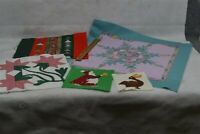 vtg quilt patches blocks lot assorted cotton calico hand made 5 pcs