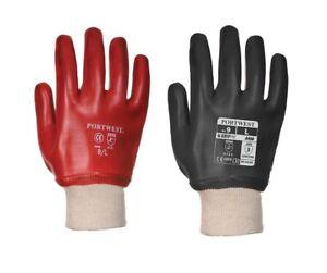 Portwest A400 PVC Knitwrist Gloves Waterproof Fully Coated Work Gardening DIY