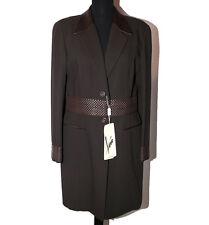Giacca soprabito taglia 46 donna marrone pelle nappa e lana