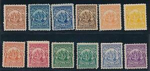 El Salvador 1898 ISSUES: #177-188; MH; HIGH VALUES VF