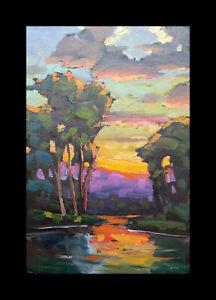 Wm HAWKINS  Colorful Sunset River Clouds Impressionism Original Oil Painting Art