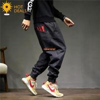 New Men`s Retro Black Printing Loose Denim Pants Harem Taper Fit Jogger Jeans