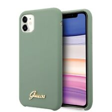 GUESS Soft Case iPhone 11 Khaki Hard Shell Silicone Vintage Gold Logo Cover Case