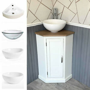 Cloakroom Corner Bathroom Vanity   White Unit Oak Top Ceramic Basin