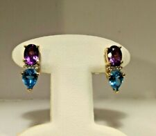 14k Yellow Gold Amethyst and Blue Topaz Post Earrings