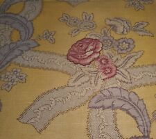 Antique French Floral Roses Garland Linen Fabric~Raspberry Lavender Yellow Ochre