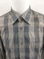 Ermenegildo Zegna Men's LS Button Gray Brown Plaid Check Casual Shirt Size XL