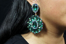 Wedding Green Crystal Clip On Earrings Drag Queen Pageant Bridal Sweet 16 Prom