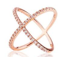 2.45 CW Rose Gold X Ring Minimalist Geometric Criss Cross Circle Orbit Size 10