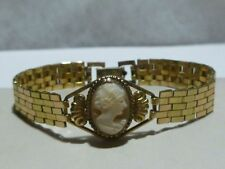 INCREDIBLE WOMENS TWO-TONE 1/20 12k GF GOLD FILLED STERLING CAMEO DECO BRACELET