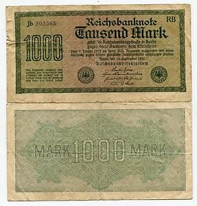 German Old 1923 Banknote 1000 Mark Reichsbanknote Paper Money