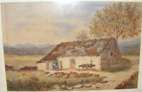 ANTIQUE 19THC WATERCOLOUR PAINTING OF A PASTORAL SCENE COTTAGE BULLS SIGNED 1879