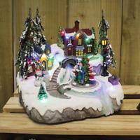 Carol Cantanti Villaggio Neve Natale Scena con Led & SUONO Decorazione Natalizia