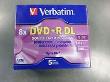 New Verbatim 8X DVD+R DL 5 Pack Jewel Case Verbatim#95311