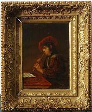 Le Joueur de Flûte, 1860, Goût XVIIème Siècle! Sublime Cadre 1860 d'Origine!
