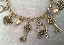Vintage Style Hearts & Keys Charm Bracelet Antique Bronze